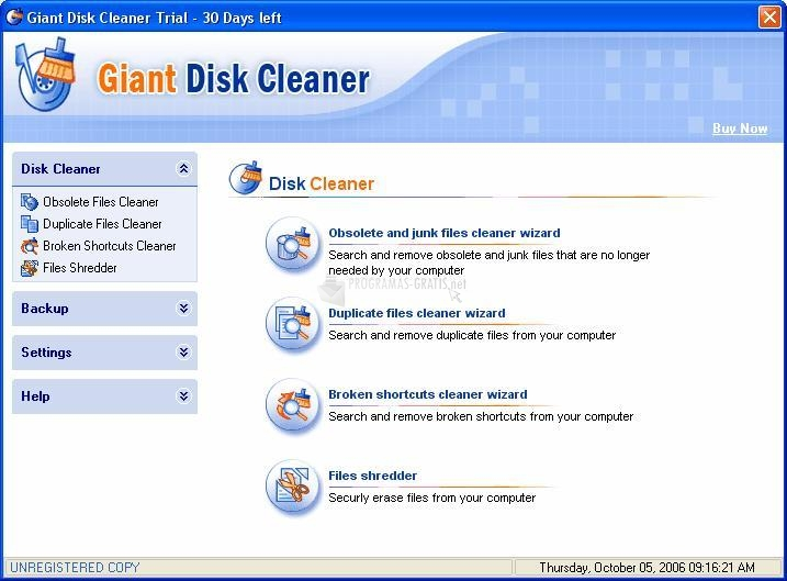 Pantallazo Giant Disk Cleaner