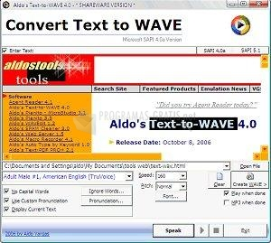 Pantallazo Aldo Text to WAVE