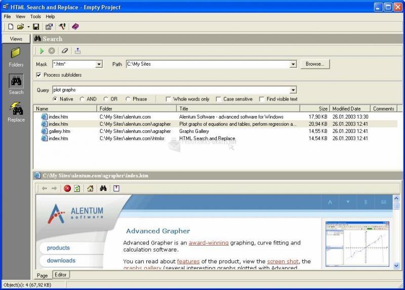 Pantallazo HTML Search and Replace