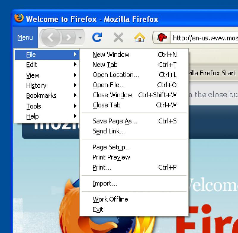 Pantallazo Tiny Menu for Firefox