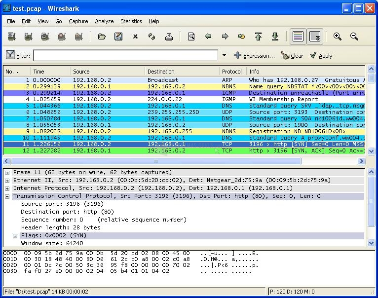 Pantallazo Wireshark