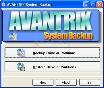 Pantallazo Avantrix System Backup