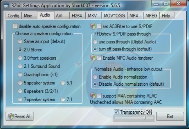 Screenshot Advanced Vista Codec Package