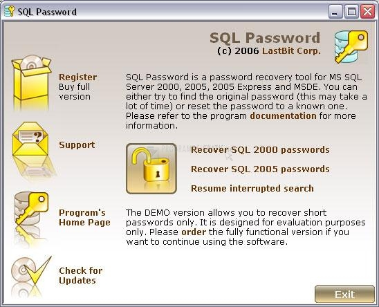 Pantallazo SQL Password