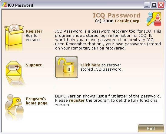 Pantallazo ICQ Password