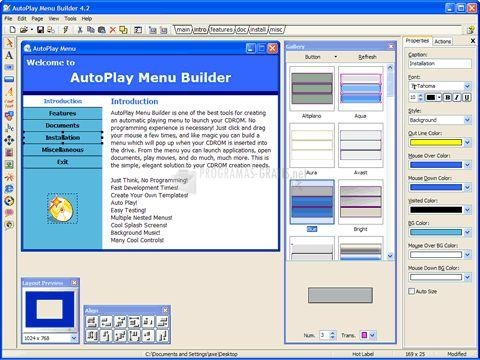 Pantallazo AutoPlay Menu Builder