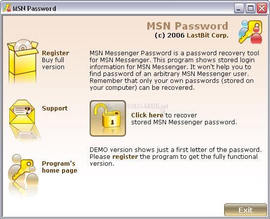 Pantallazo MSN Password