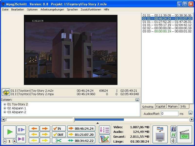 Pantallazo MPEG2Schnitt
