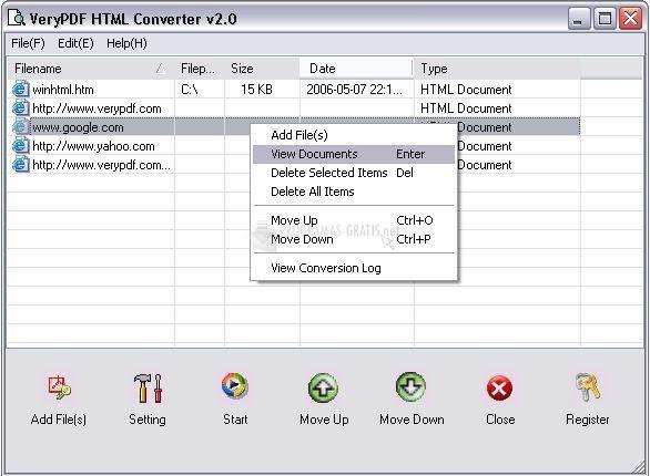 Pantallazo VeryPDF HTML Converter