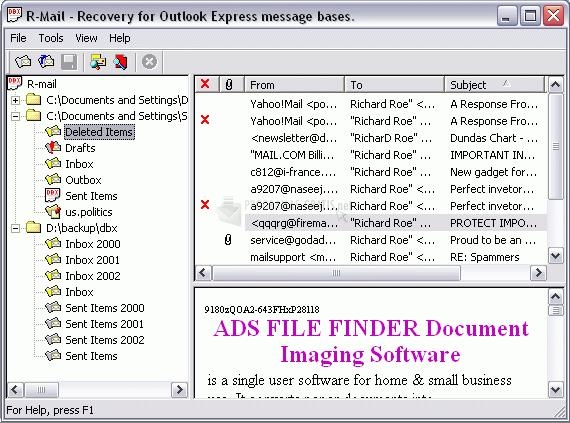 Pantallazo R-Mail for Outlook Express