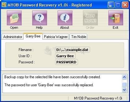 Pantallazo MYOB Password Recovery