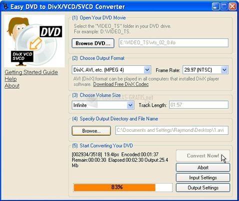 Pantallazo Easy DVD to DivX/VCD Converter