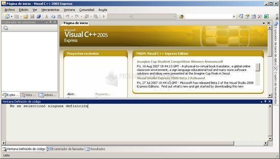Pantallazo Visual C   2005 Express Edition