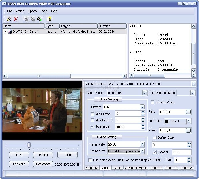 Pantallazo YASA MOV to MPEG AVI Converter