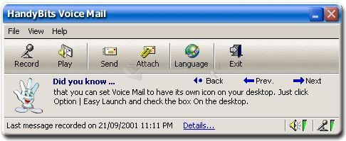 Pantallazo HandyBits Voice Mail