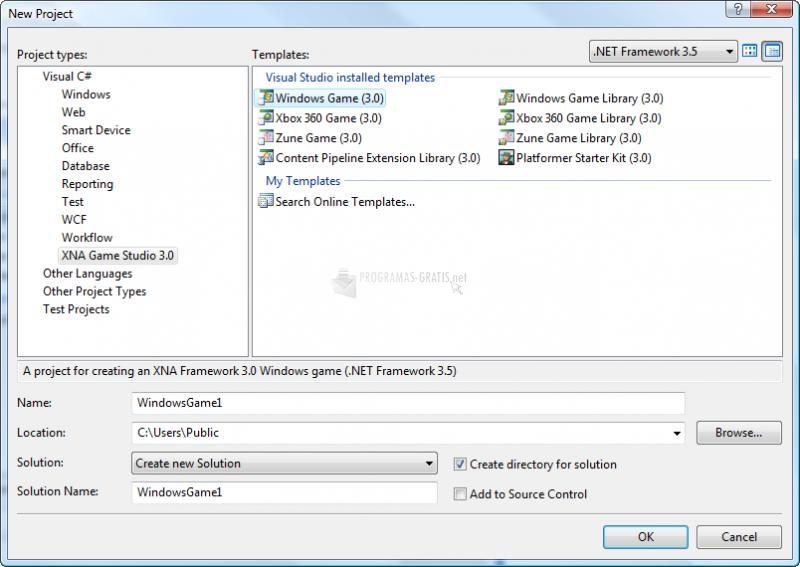 Pantallazo Microsoft XNA Game Studio