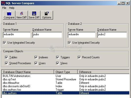 Pantallazo SQL Server Compare