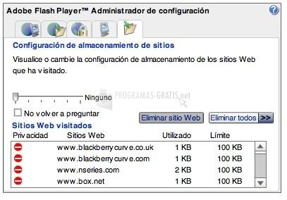 Pantallazo Adobe Flash Player (Internet Explorer)
