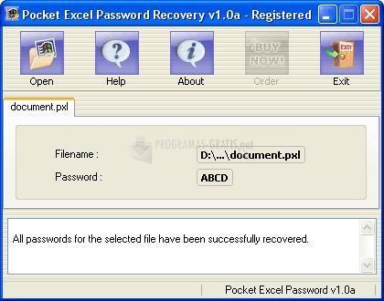 Pantallazo Pocket Excel Password Recovery