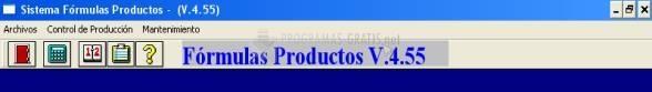 Pantallazo Fórmulas Productos