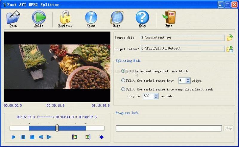 Pantallazo Fast AVI MPEG Splitter