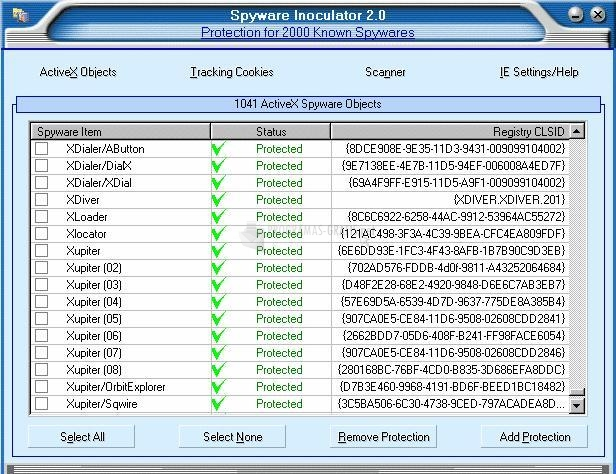 Pantallazo Spyware Inoculator