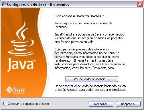 Pantallazo Java SE Runtime Environment