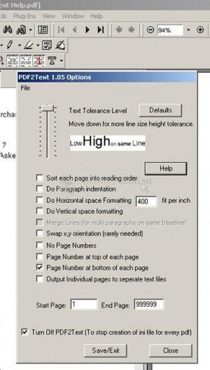 Pantallazo PDF2Text Pilot