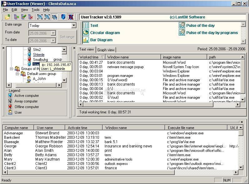 Pantallazo User Tracker