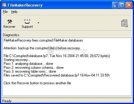 Pantallazo Recovery for FileMaker