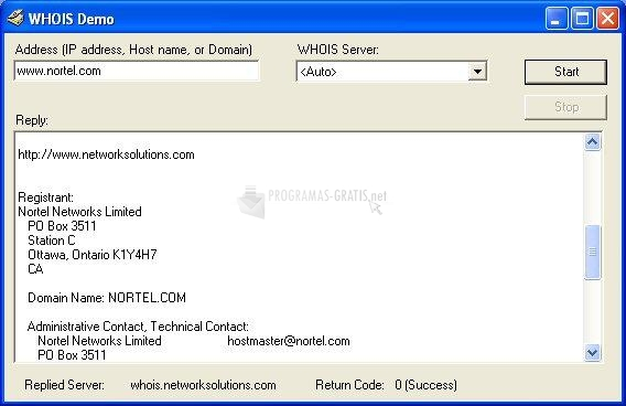 Pantallazo WHOIS ActiveX Control