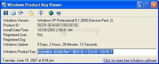 Pantallazo Windows Product Key Viewer