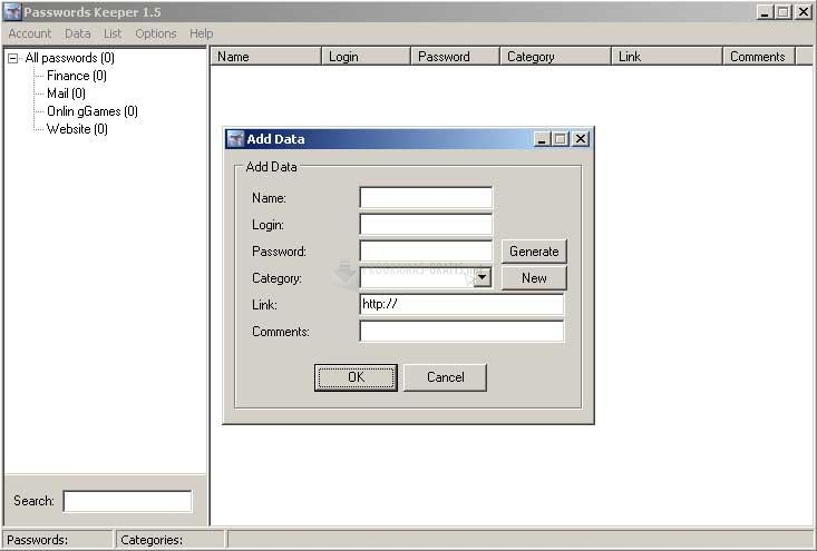Pantallazo Altarsoft Passwords Keeper