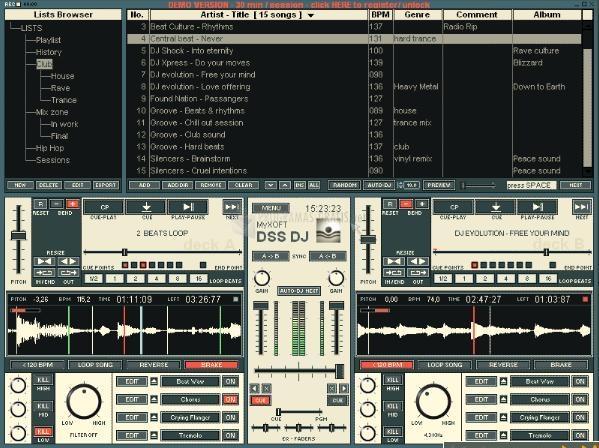 Pantallazo DSS DJ