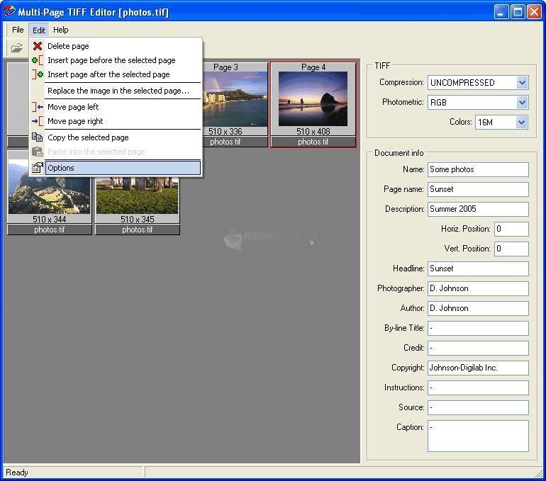 Pantallazo Multi-Page TIFF Editor
