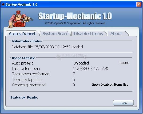 Pantallazo Startup Mechanic