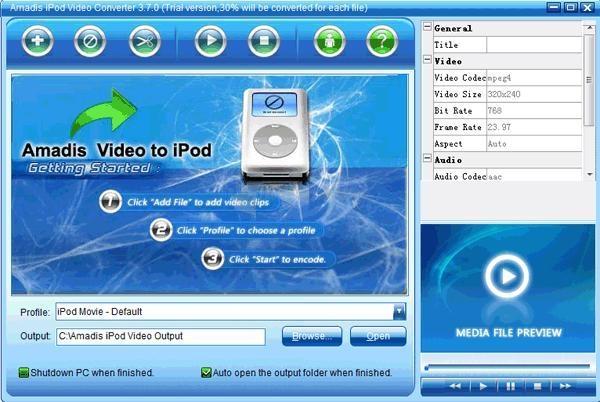 Pantallazo Amadis iPod Video Converter