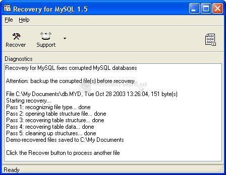Pantallazo MySQLRecovery